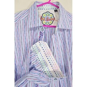 Robert Graham shirt men XL blue red blue stripes